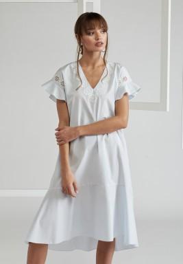 Trimmed Ruffled Poplin Dress
