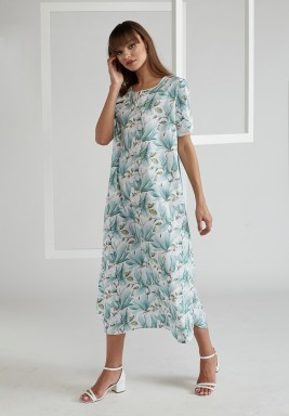 Printed and Trimmed Poplin Dress