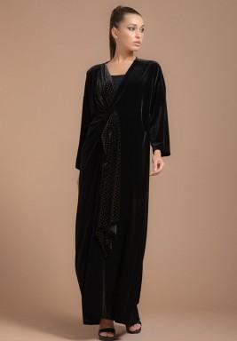 Mariposa Velvet Abaya with Gatthered Semi Bow Closing