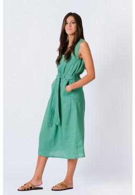 فستان أخضر كتّان بدون أكمام