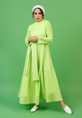 فستان بلا أكمام نيون ليموني