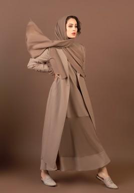 فستان بنمط سترة وشال طوبي رمادي داكن