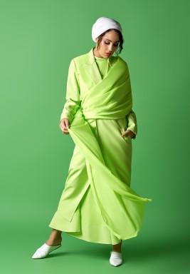 فستان بنمط سترة وشال نيون ليموني  - بطلب مسبق