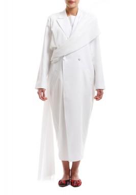 فستان بنمط سترة وشال سمني أوف وايت