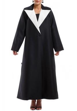 معطف طويل أسود مع بطانة بيضاء