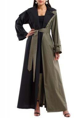معطف مزدوج الطيات أسود وزيتوني