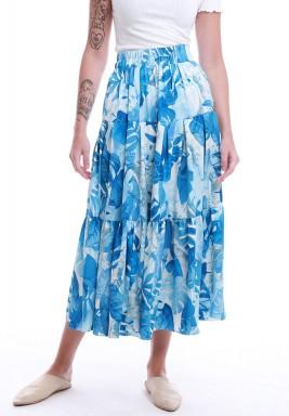 تنورة أزرق وأبيض بطبعة أوراق الموز