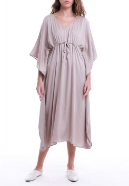 فستان بيج متوسط الطول بأكمام قصيرة