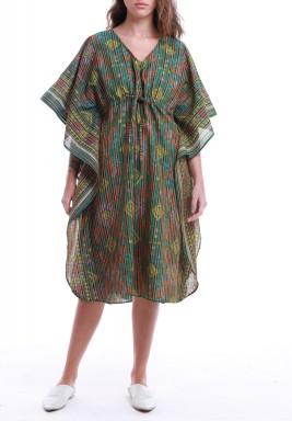 فستان ملون مخطط بأكمام قصيرة