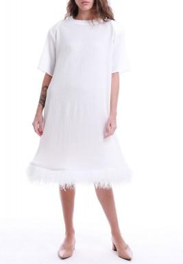فستان أبيض نمط توب بحاشية ريش