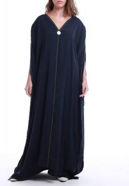 فستان كحلي حرير بأكمام قصيرة