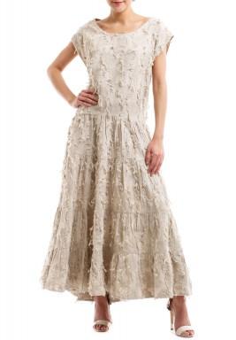 فستان بيج مزخرف بالورود ماكسي