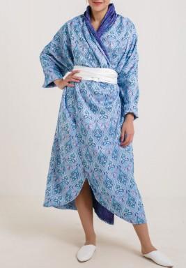 فستان ملفوف أزرق