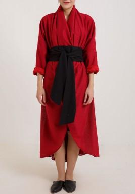 فستان ملفوف أحمر