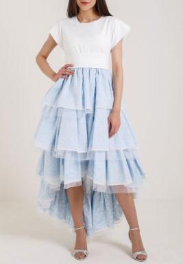 فستان هاي-لو أبيض و سماوي