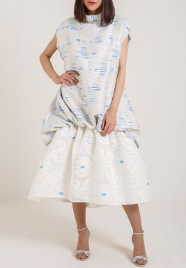 فستان برقبة عالية سماوي