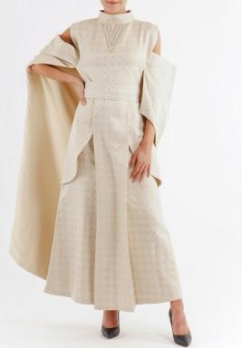 فستان قصة لولو باللون البيج