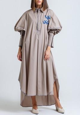 فستان جيتا رمادي بتطريز عربي أزرق