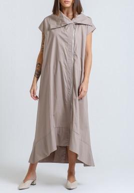 فستان بيج بياقة كبيرة وسحاب