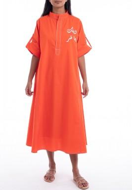 فستان برتقالي مطرز متوسط الطول