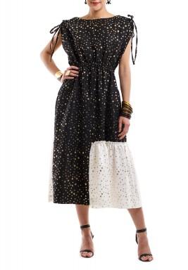 فستان لمعان النجمة - أبيض وأسود