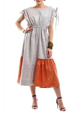 فستان لمعان النجمة - أبيض وبرتقالي