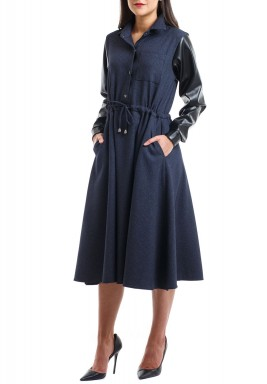 ARM leather dress Blue