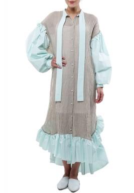 فستان فينيس ذو أكمام بلون النعناع