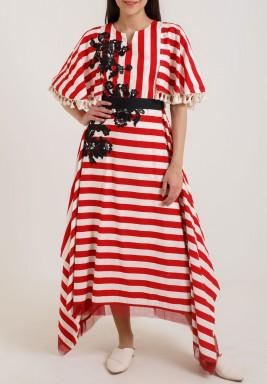 فستان  واسع  مخطط