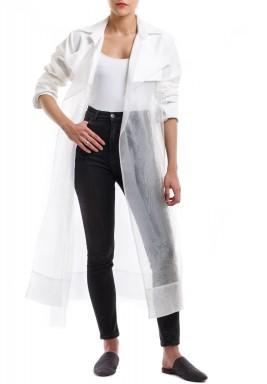 معطف أبيض أورجانزا محزم