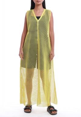 فستان شبكي أصفر بدون أكمام