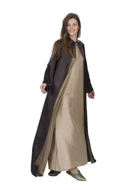 عباية أطلس الحرير بالبني والبيج