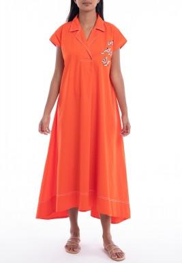 فستان روشا برتقالي بتطريز عربي