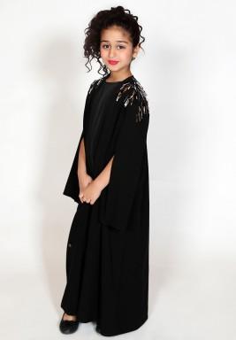 Crepe abaya with embellished shoulder