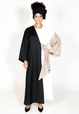 Trio color linen abaya