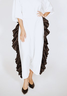 Harem style pants with frills on full side