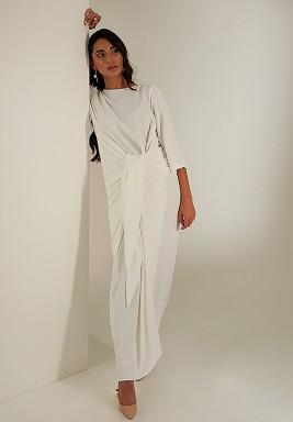 فستان أبيض كريب بربطة أمامية