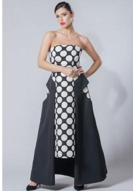فستان أسود وأبيض منقط متباين الطول