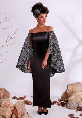 فستان أسود مكشوف الأكتاف ساتان حرير