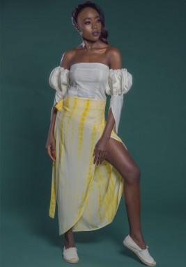 تنورة ملفوفة أصفر
