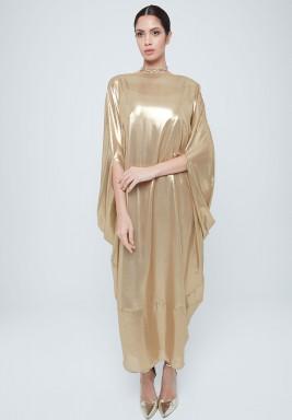 فستان ذهبي ميتاليك بظهر ذو طويات