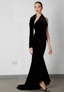 فستان أسود حرير مخملي بكم طويل
