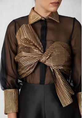 قميص أسود وذهبي أورجانزا حرير