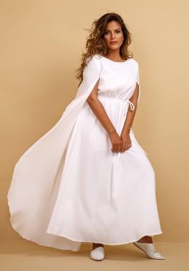 فستان بيبي المميز برداء كتفي كايب أبيض