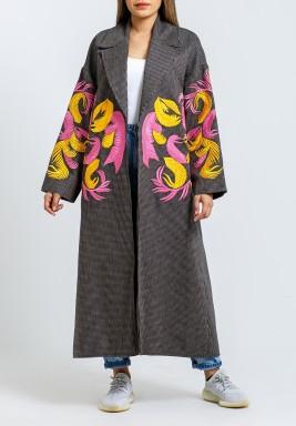 معطف رمادي بتطريز ملون