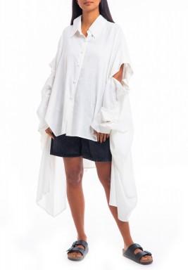 قميص ذا سجنتشور الأبيض بأكمام مزررة