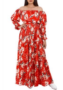 فستان فلورال كونسيرت الأحمر