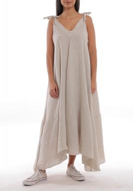 فستان بيج كتان بأربطة وقصة واسعة