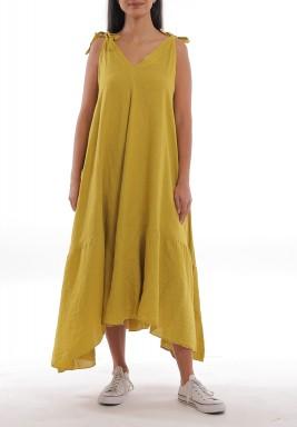 فستان خردلي كتان بأربطة وقصة واسعة
