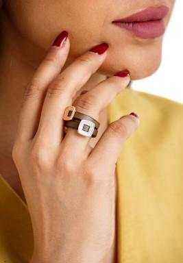 خاتم توأم المربعات الفضي والذهبي